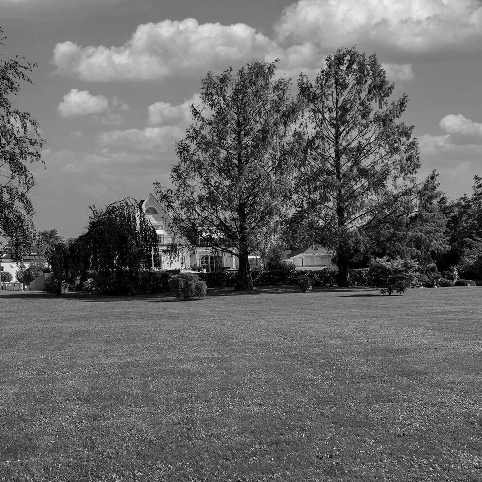 Blick auf herrschaftliches Anwesen aus Park