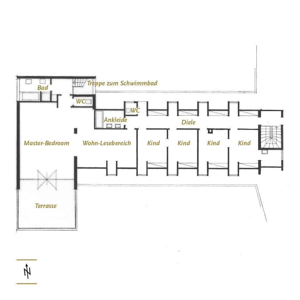 Grundriss Vorstandsvilla Obergeschoss